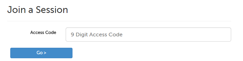 Screencap showing where to input the Access Code