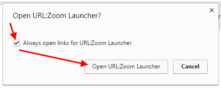 Chrome prompt to open Zoom