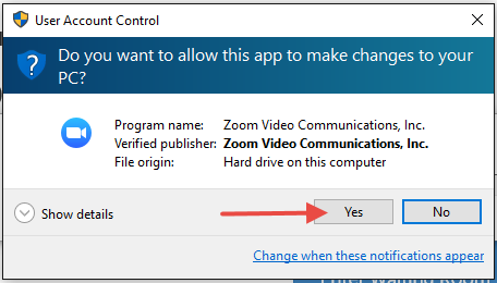 Zoom User Account Control request